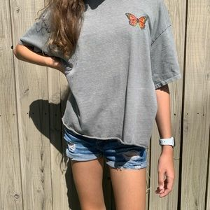 O'neill Tilly's Grey Monarch Butterfly cropped tee